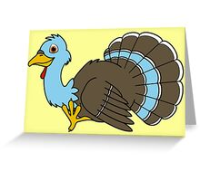Thanksgiving Turkey with Light Blue Feathers Greeting Card