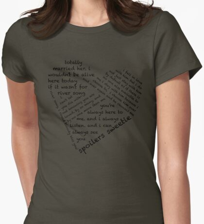 Quotes of the Heart - River/Doctor (Black) Womens Fitted T-Shirt
