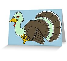 Thanksgiving Turkey with Light Green Feathers Greeting Card
