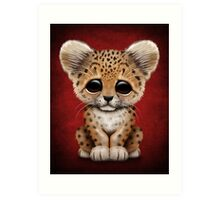 Cute Baby Leopard Cub on Red Art Print