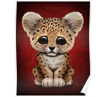 Cute Baby Leopard Cub on Red Poster