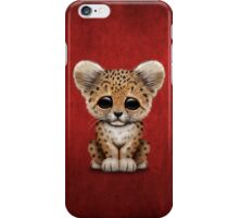 Cute Baby Leopard Cub on Red iPhone Case/Skin