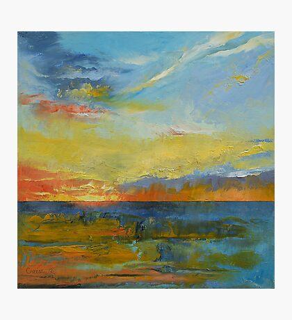 Turquoise Blue Sunset Photographic Print
