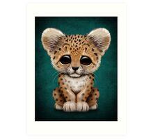 Cute Baby Leopard Cub on Teal Blue Art Print