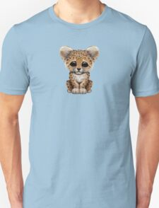 Cute Baby Leopard Cub on Teal Blue Unisex T-Shirt