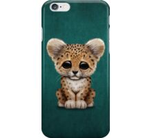Cute Baby Leopard Cub on Teal Blue iPhone Case/Skin