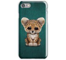 Cute Baby Leopard Cub on Teal Blue iPhone Case/Skin