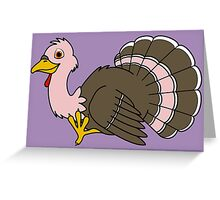 Thanksgiving Turkey with Light Pink Feathers Greeting Card