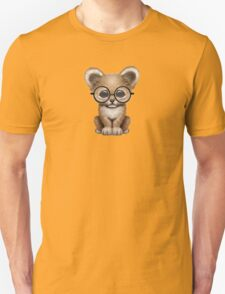 Cute Baby Lion Cub Wearing Glasses  Unisex T-Shirt