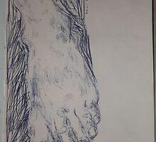 Drawing: Foot -(260312)- Ink/A5 sketchbook/digital photo by paulramnora