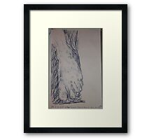 Drawing: Foot -(260312)- Ink/A5 sketchbook/digital photo Framed Print