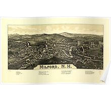 Panoramic Maps Milford NH Poster