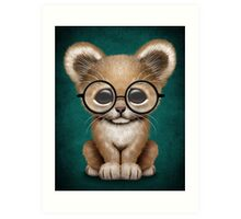 Cute Baby Lion Cub Wearing Glasses on Teal Blue Art Print