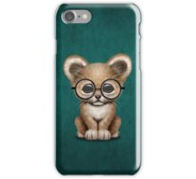 Cute Baby Lion Cub Wearing Glasses on Teal Blue iPhone Case/Skin