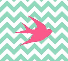 Pink Bird Silhouette on Chevron Stripes  by runninragged