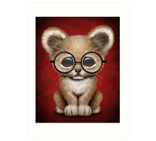 Cute Baby Lion Cub Wearing Glasses on Red Art Print