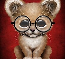 Cute Baby Lion Cub Wearing Glasses on Red by Jeff Bartels