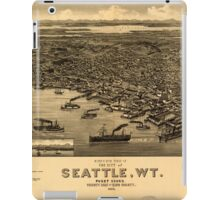 Panoramic Maps Bird's eye view of the city of Seattle WT Puget Sound county seat of King County 1884 iPad Case/Skin