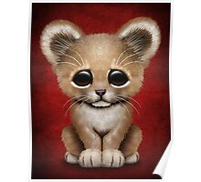 Cute Baby Lion Cub on Red Poster