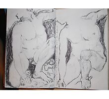 Drawing: Narcissus/4 of 4 -(260312)- black ink/A5 sketchbook/digital photo Photographic Print