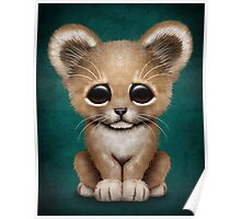 Cute Baby Lion Cub on Teal Blue Poster