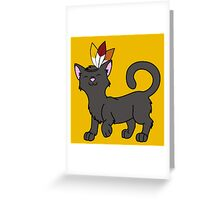 Thanksgiving Black Cat with Indian Headdress Greeting Card