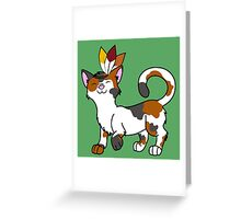 Thanksgiving Calico Cat with Indian Headdress Greeting Card