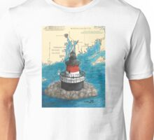 Plum Beach Lighthouse RI Nautical Chart Cathy Peek Unisex T-Shirt