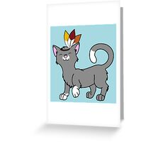 Thanksgiving Gray Cat with Indian Headdress Greeting Card