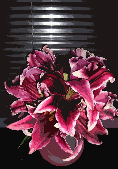 Dark Lilies in a vase by peterrobinsonjr