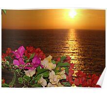 Springtide's Sunset In Yellow - Puesta Del Sol Amarillo En La Primavera Poster