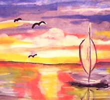 Lovely day to go sailing, watercolor by Anna  Lewis
