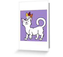 Thanksgiving White Cat with Indian Headdress Greeting Card