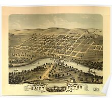 Panoramic Maps Bird's eye view of the city of Saint Peter Nicollet County Minnesota 1870 Poster