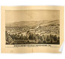 Panoramic Maps Bethlehem and South Bethlehem Pa Looking north east GA Rudd NY 1877 Poster