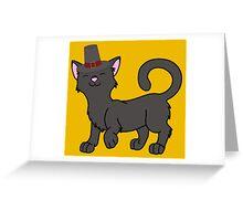 Thanksgiving Black Cat with Pilgrim Hat Greeting Card