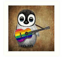 Baby Penguin Playing Gay Pride Rainbow Flag Guitar Art Print