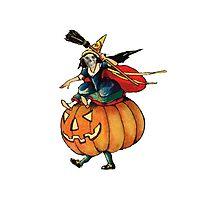 Queen Reaper (Vintage Halloween Card) Photographic Print