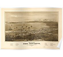 Panoramic Maps Bird's eye view of Port Townsend Puget Sound Washington Territory 1878 Poster