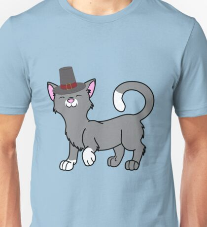 Thanksgiving Gray Cat with Pilgrim Hat Unisex T-Shirt
