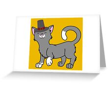 Thanksgiving Gray Cat with Pilgrim Hat Greeting Card