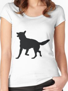 German Shepherd Silhouette Women's Fitted Scoop T-Shirt