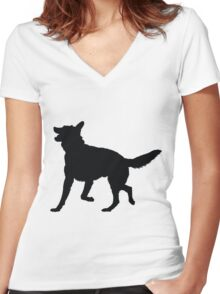 German Shepherd Silhouette Women's Fitted V-Neck T-Shirt