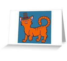 Thanksgiving Orange Cat with Pilgrim Hat Greeting Card