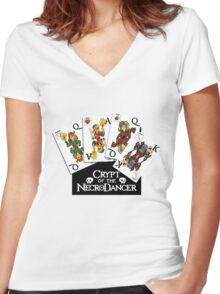 Cards of the Necrodancer Women's Fitted V-Neck T-Shirt