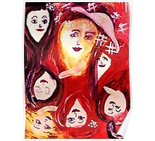 Faces of women, 2 for 1, watercolor Poster
