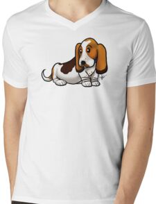 Basset Hound Mens V-Neck T-Shirt