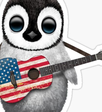 Baby Penguin Playing American Flag Guitar Sticker
