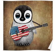Baby Penguin Playing American Flag Guitar Poster