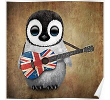 Baby Penguin Playing British Flag Guitar Poster